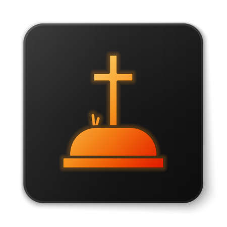 Orange glowing neon Tombstone with cross icon isolated on white background. Grave icon. Black square button. Vector Illustration Иллюстрация