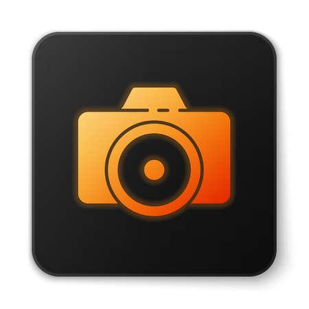 Orange glowing neon Photo camera icon isolated on white background. Foto camera icon. Black square button. Vector Illustration