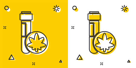 Black Chemical test tube with marijuana or cannabis leaf icon isolated on yellow and white background. Research concept. Laboratory CBD oil. Random dynamic shapes. Vector Illustration