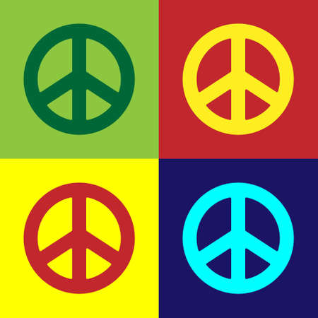 Pop art Peace icon isolated on color background. Hippie symbol of peace. Vector Illustration