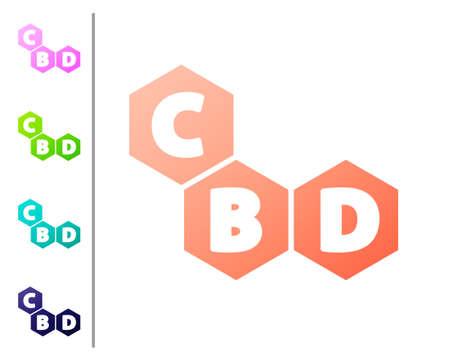 Coral Cannabis molecule icon isolated on white background. Cannabidiol molecular structures, THC and CBD formula. Marijuana sign. Set color icons. Vector Illustration Ilustração