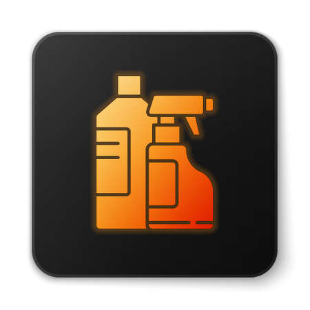 Orange glowing neon Plastic bottles for laundry detergent, bleach, dishwashing liquid or another cleaning agent icon isolated on white background. Black square button. Vector Illustration Иллюстрация