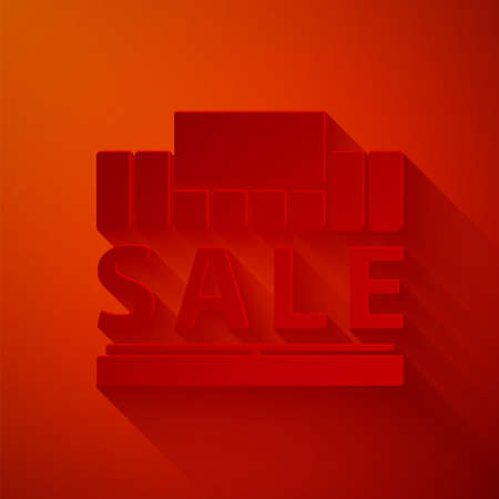 Paper cut Shopping building or market store icon isolated on red background. Supermarket sale concept. Paper art style. Vector Illustration