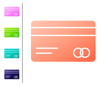 Coral Credit card icon isolated on white background. Online payment. Cash withdrawal. Financial operations. Shopping sign. Set color icons. Vector Illustration