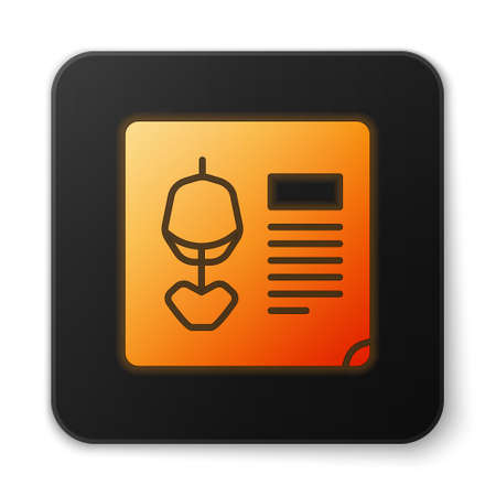 Orange glowing neon X-ray shots icon isolated on white background. Black square button. Vector Illustration
