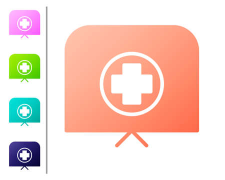 Coral Nurse hat with cross icon isolated on white background. Medical nurse cap sign. Set color icons. Vector Illustration