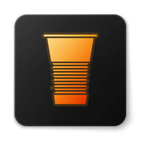 Orange glowing neon Paper glass icon isolated on white background. Soda drink glass. Fresh cold beverage symbol. Black square button. Vector Illustration
