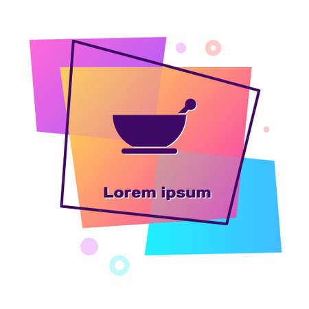 Purple Mortar and pestle icon isolated on white background. Color rectangle button. Vector Illustration