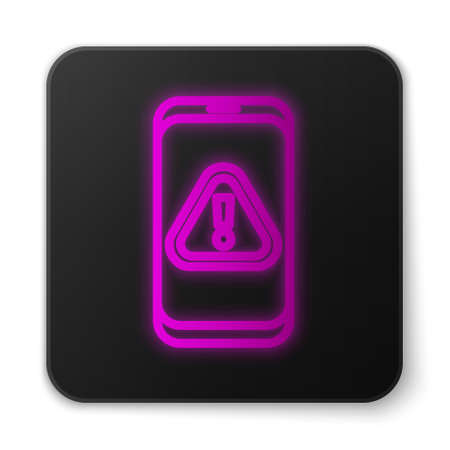Glowing neon line Mobile phone with exclamation mark icon isolated on white background. Alert message smartphone notification. Black square button. Vector Illustration Vectores