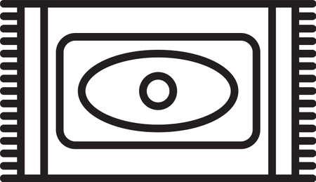 Black line Traditional carpet culture ramadan arabic islamic celebration icon isolated on white background. Vector Illustration Illusztráció