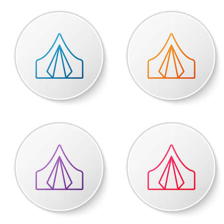Color line Tourist tent icon isolated on white background. Camping symbol. Set icons in circle buttons. Vector Illustration 向量圖像