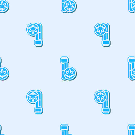 Blue line Chemical test tube with marijuana or cannabis leaf icon isolated seamless pattern on grey background. Research concept. Laboratory CBD oil. Vector Illustration