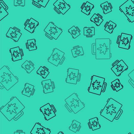 Black line Shopping box of medical marijuana or cannabis leaf icon isolated seamless pattern on green background. Buying cannabis. Hemp symbol. Vector Illustration