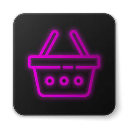 Glowing neon line Shopping basket icon isolated on white background. Online buying concept. Delivery service sign. Shopping cart symbol. Black square button. Vector Illustration
