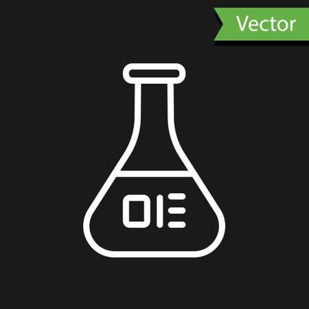 White line Test tube and flask chemical laboratory test icon isolated on black background. Laboratory glassware sign. Vector Illustration