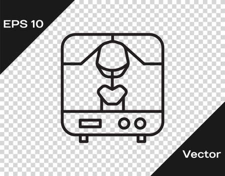 Black line X-ray machine icon isolated on transparent background. Vector Illustration