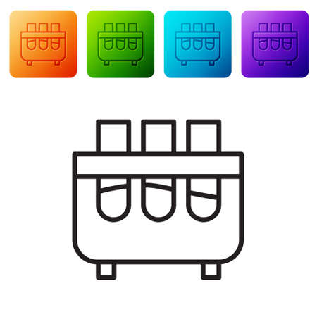 Black line Test tube and flask chemical laboratory test icon isolated on white background. Laboratory glassware sign. Set icons in color square buttons. Vector Illustration