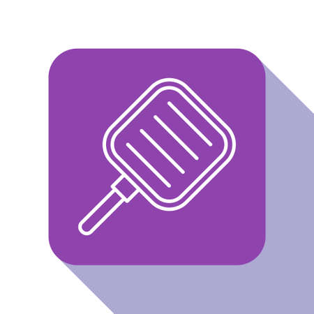 White line Frying pan icon isolated on white background. Fry or roast food symbol. Purple square button. Vector Illustration