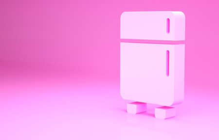 Pink Refrigerator icon isolated on pink background. Fridge freezer refrigerator. Household tech and appliances. Minimalism concept. 3d illustration 3D render