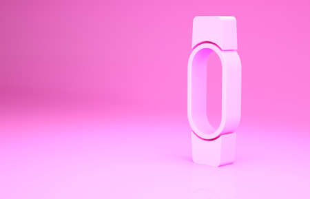 Pink Smartwatch icon isolated on pink background. Minimalism concept. 3d illustration 3D render