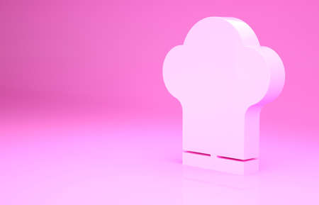 Pink Chef hat icon isolated on pink background. Cooking symbol. Cooks hat. Minimalism concept. 3d illustration 3D render
