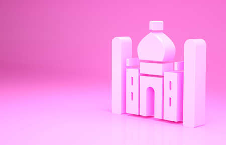Pink Taj Mahal mausoleum in Agra, Indiaicon isolated on pink background. Minimalism concept. 3d illustration 3D render 免版税图像