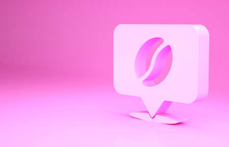 Pink Location with coffee bean icon isolated on pink background. Minimalism concept. 3d illustration 3D render Zdjęcie Seryjne