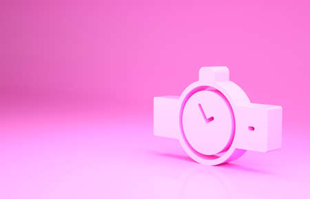 Pink Wrist watch icon isolated on pink background. Wristwatch icon. Minimalism concept. 3d illustration 3D render