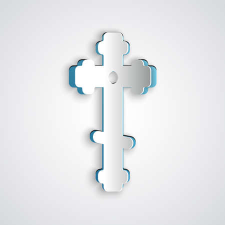 Paper cut Christian cross icon isolated on grey background. Church cross. Paper art style. Vector Illustration