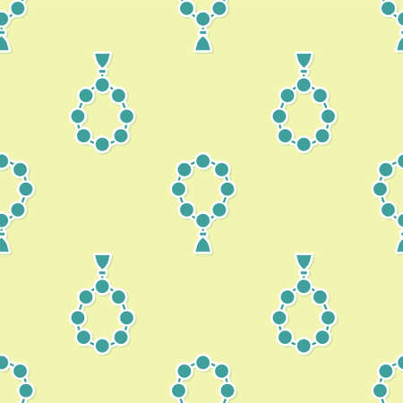 Green Rosary beads religion icon isolated seamless pattern on yellow background. Vector Illustration