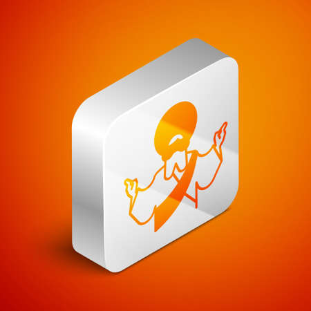 Isometric Jesus Christ icon isolated on orange background. Silver square button. Vector Illustration