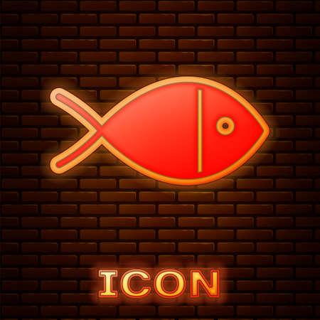 Glowing neon Christian fish symbol icon isolated on brick wall background. Jesus fish symbol. Vector Illustration 일러스트