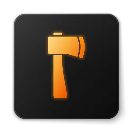Orange glowing neon Wooden axe icon isolated on white background. Lumberjack axe. Black square button. Vector Illustration Ilustração
