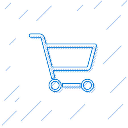 Blue line Shopping cart icon isolated on white background. Online buying concept. Delivery service sign. Supermarket basket symbol. Vector Illustration Illusztráció