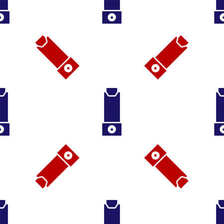 Blue and red Inhaler icon isolated seamless pattern on white background. Breather for cough relief, inhalation, allergic patient. Vector Illustration