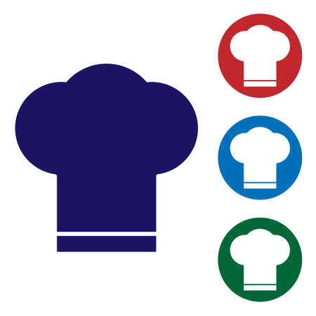 Blue Chef hat icon isolated on white background. Cooking symbol. Cooks hat. Set icons in color square buttons. Vector Illustration