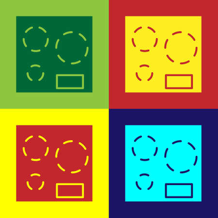 Pop art Electric stove icon isolated on color background. Cooktop sign. Hob with four circle burners. Vector Illustration