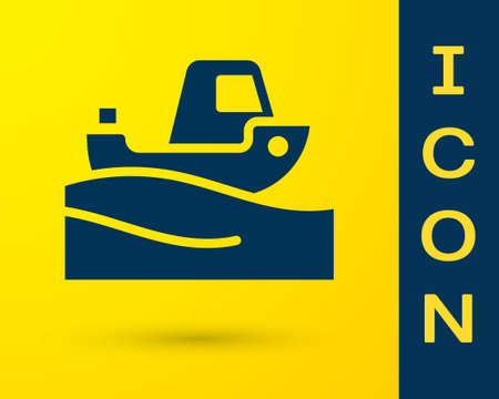 Blue Fishing boat on water icon isolated on yellow background. Vector Ilustração