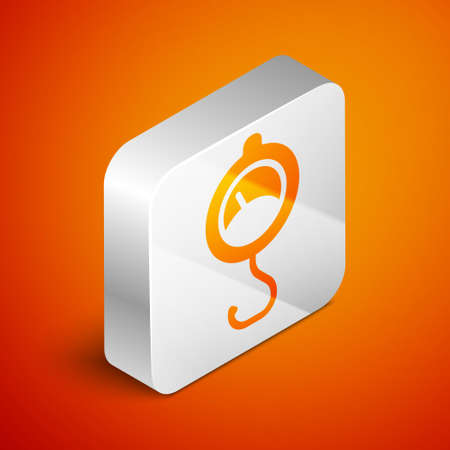 Isometric Spring scale icon isolated on orange background. Balance for weighing. Determination of weight. Silver square button. Vector  イラスト・ベクター素材
