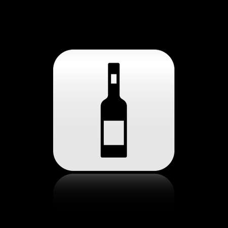 Black Glass bottle of vodka icon isolated on black background. Silver square button. Vector 向量圖像