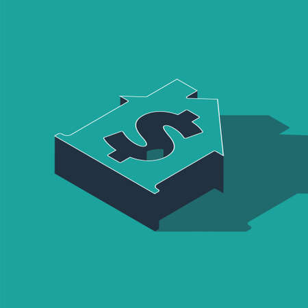 Isometric House with dollar symbol icon isolated on green background. Home and money. Real estate concept. Vector