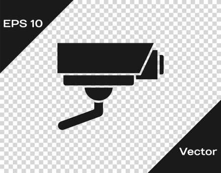 Black Security camera icon isolated on transparent background. Vector