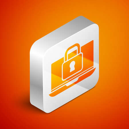 Isometric Laptop and lock icon isolated on orange background. Computer and padlock. Security, safety, protection concept. Safe internetwork. Silver square button. Vector 矢量图像