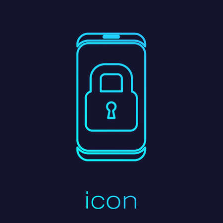 Turquoise line Smartphone with closed padlock icon isolated on blue background. Phone with lock. Mobile security, safety, protection concept. Vector