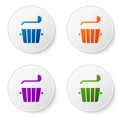 Color Sauna bucket and ladle icon isolated on white background. Set icons in circle buttons. Vector