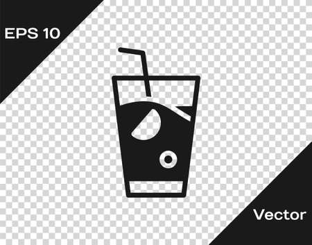 Black Fresh smoothie icon isolated on transparent background. Vector