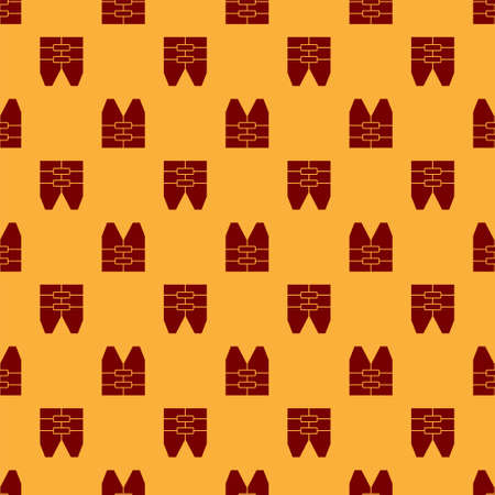 Red Life jacket icon isolated seamless pattern on brown background. Life vest icon. Extreme sport. Sport equipment. Vector.
