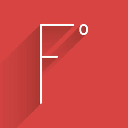 White line Fahrenheit icon isolated with long shadow. Vector Illustration