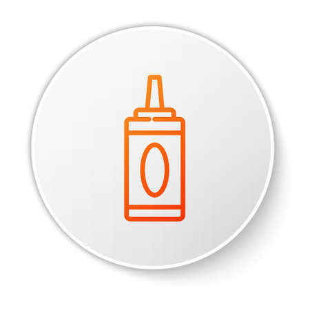 Orange line Bottle of shampoo icon isolated on white background. White circle button. Vector Illustration