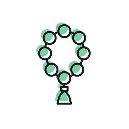Black line Rosary beads religion icon isolated on white background. Vector Illustration 向量圖像
